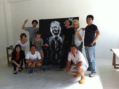 Japan Star Tegoshi YUYA in Paris Funny Painting by Tegoshi in the studio EriK BLACK show #GlitterPainting #artlive
