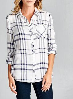 White and Navy Plaid Shirt