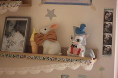 woodland rabbit night light and vintage toys #bunnyinabow