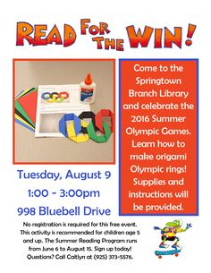 Tues. August 9, 2016: Come to the Springtown Branch Library to celebrate the 2016 Summer Olympic Games. Learn how to make origami Olympic rings! Supplies & instructions are provided. 998 Bluebell Drive, Livermore, CA, 94551