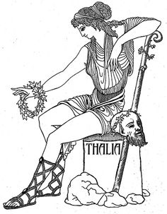 "Thalia   - the ""Flourishing"" is the muse of Comedy and of playful and idyllic poetry, and is seen with a comic mask. She is sometimes seen with a crown of ivy and a crook. Art by Katlyn"
