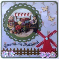 Groeten uit Holland met bloemenkaart en molen Amy Design Oud Hollands Paper Craft Making, Garden Images, Marianne Design, I Card, Holland, Paper Crafts, Windmills, Birthday, Handmade