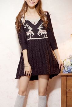 Winter Wonderland Nordic Print Sweater Dress in Charcoal   Sincerely Sweet Boutique