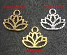 50 pcs Antique Bronze Argent Or Fleur De Lotus Charmes Convenables DIY Collier Bracelet Résultats de Bijoux