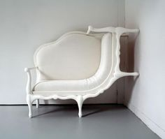 Maybe it's because I'm fascinated with surrealist art, but when I dream, the cities & towns, the houses and the rooms have surreal properties, & are usually white, as if to emphasize their odd shapes.  I seem to dream using the principles of design, but not of straight line perspective. I could dream this. Surreal Furniture By Lila Jang