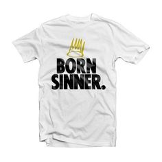 J Cole Born Sinner with Crown T Shirt J Cole Born by SupremeCut,... ❤ liked on Polyvore featuring tops, women tops, henley tops, white tops, crew neck tank top and white crop top