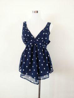 NWT Abercrombie & Fitch Chiffon Double V Neck Polka Dot Fashion Top Navy Size M