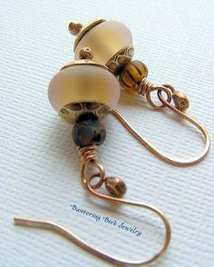Pale Melon Drop Earrings Peachy Etched Lampwork by BanteringBird, $27.00