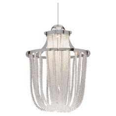 Brushed nickel pendant with draped glass beads.   Product: PendantConstruction Material: GlassColor: B...