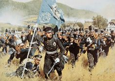 The Battle of Kulm. Liberation War / Battle of Kulm and Nollendorf on 29 and 30 Aug 1813 (The French under Vandamme are beaten by the allies). Military Diorama, Military Art, Military History, Empire, Age Of Sigmar, Seven Years' War, German Uniforms, French Army, Historical Art