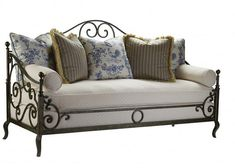 Highland House French Country Provence Iron Sofa Discount Furniture at Hickory Park Furniture Galleries Parks Furniture, Iron Furniture, Steel Furniture, Home Furniture, Furniture Design, Furniture Stores, Cheap Furniture, French Country Sofa, Country Sofas