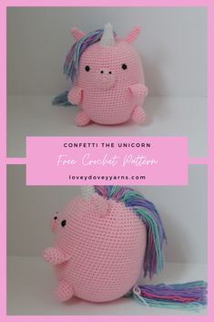 Create this cute amigurumi unicorn with my free crochet pattern that's easy enough for beginners! Click here to learn how to make it! #crochetfreepattern #amigurumifreepattern #crochetunicorn #crochetunicornfreepattern Afghan Crochet Patterns, Amigurumi Patterns, Knitting Patterns, Cute Crochet, Crochet Yarn, Crochet Unicorn Pattern, Crochet Videos, Free Pattern, Lovey Dovey