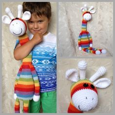 crocheted rainbow giraffe - I love this so much!