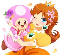 Toadette and Daisy. You won't see this when we play Mario Kart 8 at our house. Buwhahaha.