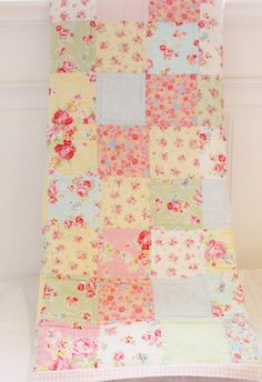 Shabby Chic Patchwork Baby Quilt Lecien Antique Flower via Etsy