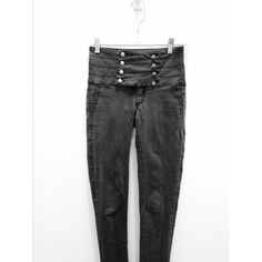 Multi-Button Pocketless High Waisted Skinny Jeans Black high waited skinny jeans, slightly faded: 6/10 condition. Exposure in most images is too high, not quite as faded as it seems. Image two became grainy when uploaded, actual front does not look like what's pictured. No pockets, high waitsted, several stacked buttons. Left column is loose, but threads can be pulled tighter from the inside to adjust them.  Size small, fits a 24/25. Sneak Peek Jeans Skinny