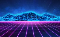 Download wallpapers Neon mountain landscape, neon light lines, purple grid, electro music, Synthpop, Retrowave