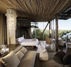 situated in the Kruger National Park, Singita Lebombo is a luxury design safari lodge. Singita Lebombo Lodge in South Africa offers stylish modern suites. Cabana, Parc National Kruger, African Interior Design, Estilo Colonial, Game Reserve, Suites, Home Interior, Luxury Interior, Modern Interior