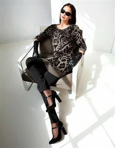 Jacquard-Pullover mit Tigergesicht, Jerseyhose