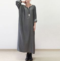 Aliexpress.com : Buy Woman Dress Grey Color Causal Vestidos Plus Size Loose Cotton Linen Vintage Dress Long Sleeve One Piece O Neck Autumn Maxi Dress from Reliable dress up prom dress suppliers on Pink Linen Store