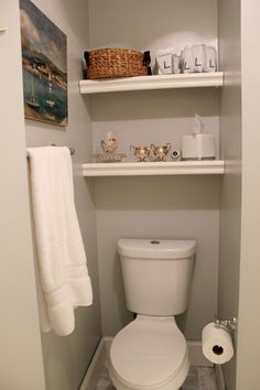 Bathroom, : White Double Shelving Above Flush Space For Small Bathroom Decoration Ideas