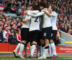 Rooney, Herrera, Marouane Fellaini and Daley Blind celebrated with Mata after the Spaniard...