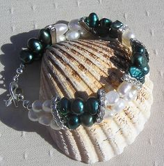 Teal & Ivory Freshwater Pearl Bracelet  Teal by SunnyCrystals, £14.75