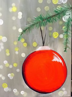 Blurry lights - How To Paint An Ornament With Blurry Lights Tracie's Canvas Tutorials – Blurry lights Diy Christmas Lights, Decorating With Christmas Lights, Christmas Art, Simple Christmas, Christmas Lights Drawing, Red Ornaments, Painted Ornaments, Christmas Ornaments, Easy Canvas Painting