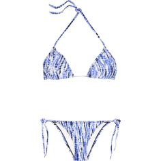 Proenza Schouler Tie-dyed triangle bikini ($105) ❤ liked on Polyvore featuring swimwear, bikinis, cobalt blue, triangular swimwear, triangle bikini, tie-dye bikini, neck ties and cobalt blue bikini