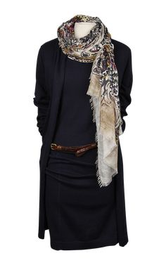 Zwart jurkje met lange vest