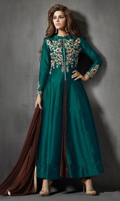Peacock Green and Brown Party wear Frock Suit-