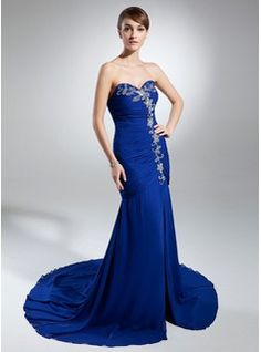 Mermaid Sweetheart Chapel Train Chiffon Evening Dress With Ruffle Beading (017015317)