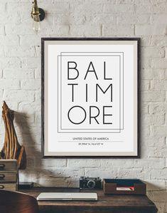 Baltimore City Print Baltimore poster City name print by INK88