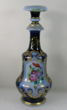 Antique Cobalt Blue Porcelain Hand Painted Cologne Bottle Vtg Vanity Accessory | eBay