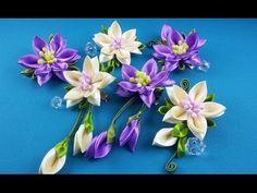 Ribbon flowers:hairpins set/Flores de cintas:conjunto de pelo clips/Цветы из лент:набор заколок.МК - YouTube