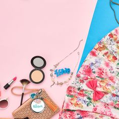 love all the bright florals and makeup! the perfect accessories for a on the go bright colored loving girl.