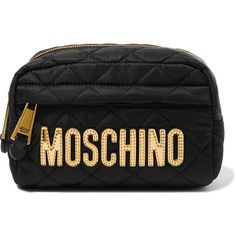 Moschino Metallic faux leather-trimmed quilted shell cosmetics case (160 PAB) ❤ liked on Polyvore featuring beauty products, beauty accessories, bags & cases, bags, cosmetic bags, toiletry bag, wash bag, purse makeup bag and travel kit