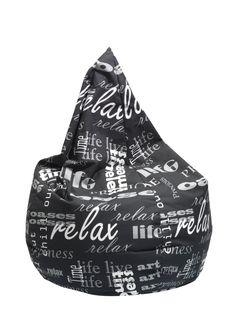 Sitzsack JACK, Stoff bedruckt schwarz/weiss,Füllgewicht: 200 Liter Art Of Living, Live Life, Relax, Monochrome, Quote Life