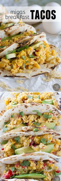 Migas Breakfast Tacos -  Eat your tacos for breakfast with these breakfast tacos filled with scrambled eggs with onions, jalapeños, tomatoes and crumbled tortilla chips.