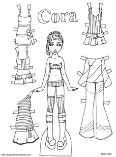 Paper Doll Young Girl In Underwear Body Template Line Drawing