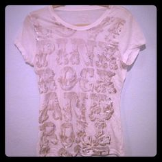 Last chance Love pink sequins Great white top made by Victoria's Secret pink retro look Victoria's Secret Tops Tees - Short Sleeve