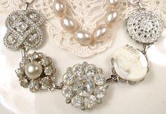 Ivory Oyster Pearl & Rhinestone Bridal Bracelet by AmoreTreasure