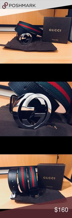 Authentic Men Gucci Belt Black Green Red • 100% Authentic • Handcrafted in Italy   • Sizing is easy, just pick the size you wear in jeans • All orders shipped in 1 business day!   *Please send all respectable offers!! BUNDLE to save * Gucci Accessories Belts