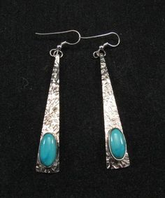 Extra-long Native American Navajo Silver Turquoise Earrings, E&M Teller