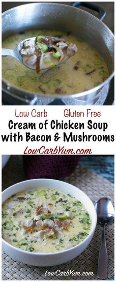 Warm up with some delicious low carb cream of chicken soup with bacon and mushrooms. It's sure to take the chill out on a cool fall or winter day and satisfy hunger. LCHF Keto Banting Recipe via @lowcarbyum