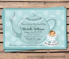 Image for vintage tea party baby shower invitations babyshower baby shower tea party invitation and custom envelope on etsy 249 filmwisefo Choice Image