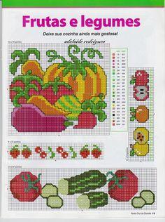 Frutas e legumes para você colocar em seus panos de copa, pegador de panela, bate mão, e o que mais você quiser bordar...