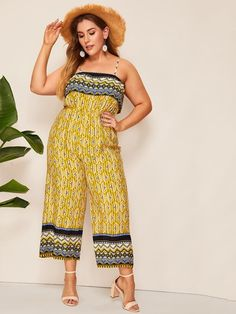 To find out about the Plus Aztec Print Wide Leg Jumpsuit at SHEIN, part of our latest Plus Size Jumpsuits ready to shop online today! Plus Size Winter Outfits, Chic Summer Outfits, Plus Size Fashion For Women, Chic Outfits, Plus Size Outfits, Fashion Outfits, Wedding Dresses Plus Size, Plus Size Dresses, Plus Size Jumpsuit