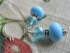 Blue Glass EarringsSpringtime Bubbles by JoJosgems on Etsy, $17.00