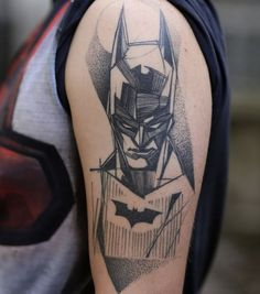 The ideal tattoo of Batman sketch for girls.